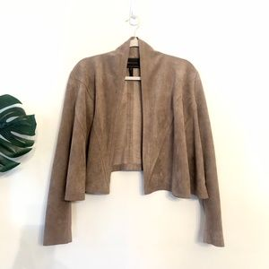 BCBG • Taupe Faux Suede Short Swing Jacket